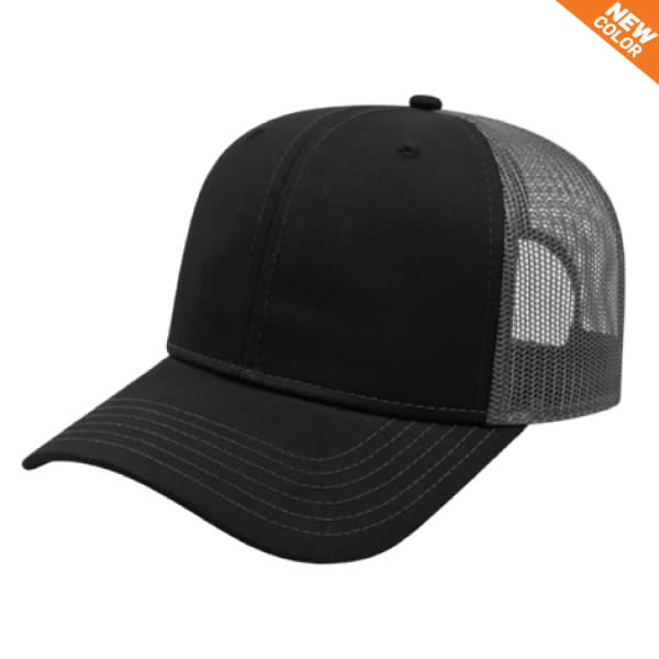 Black/Charcoal Modified Flat Black Bill with Mesh Back Cap